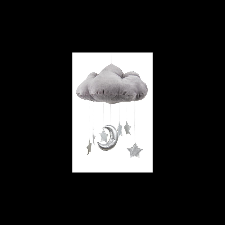 Prémium függő felhőcske dekoráció grafit-ezüst