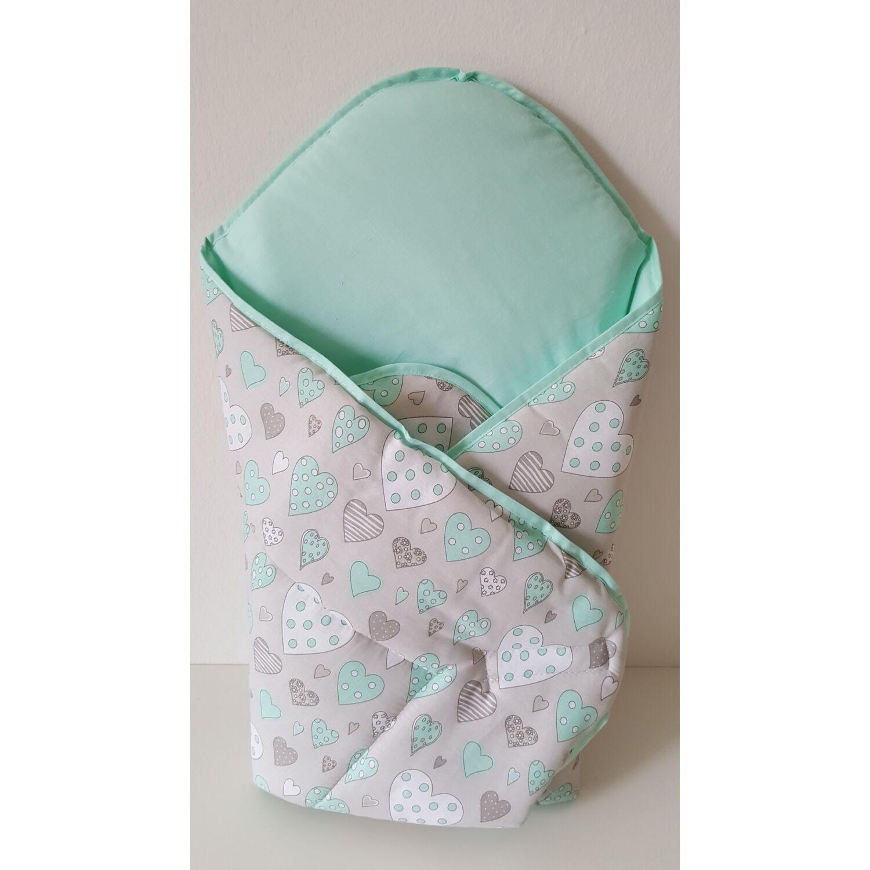 Baby Wrap újszülött pólya mentazöld szívecskés