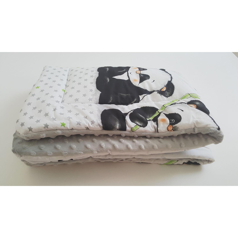 Kétoldalú polár-pamut babatakaró Panda Banda