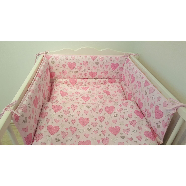 Ágyneműhuzat 2 részes rózsaszín szívecskés