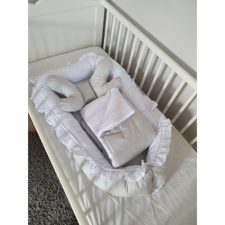 Babafészek LUX újszülött csomag fehér-szürke