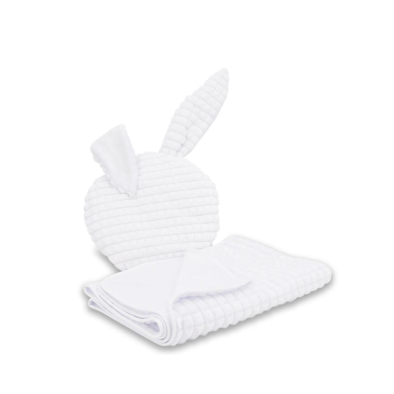 Nyuszkós takaró+párna szett keresztelőre - hófehér