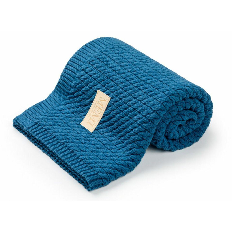 MEMI Prémium kötött takaró petrol színű