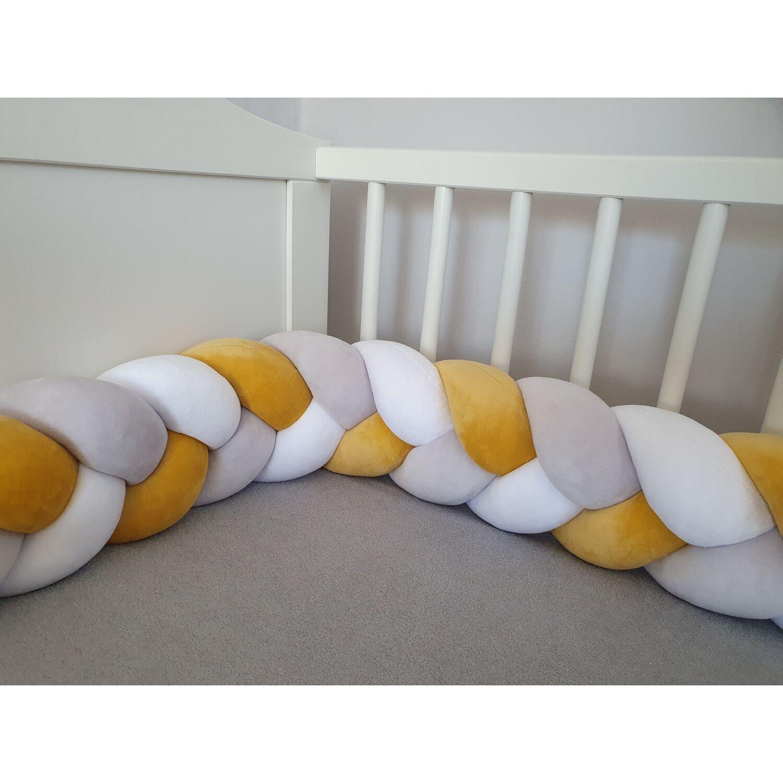 Fonott rácsvédő fehér-világosszürke-mustár 200cm