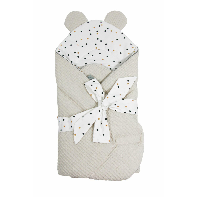Prémium Baby Wrap újszülött macifüles pólya Konfetti bézs
