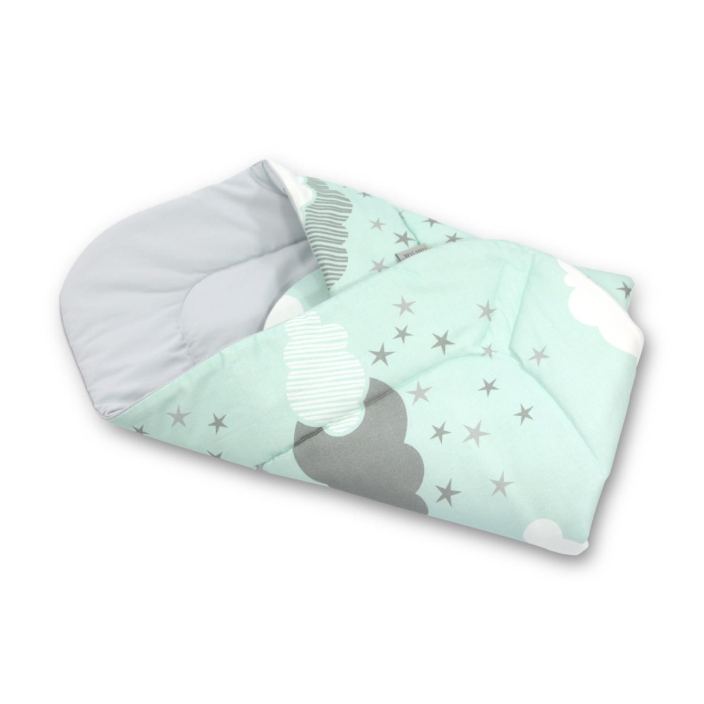 Baby Wrap újszülött pólya prémium menta felhős