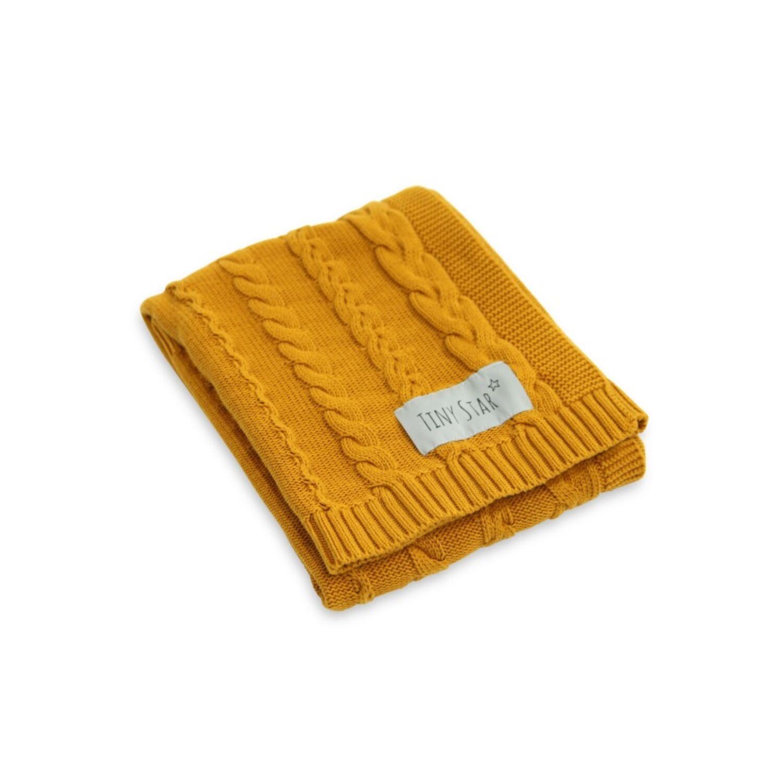 Prémium kötött takaró mustár