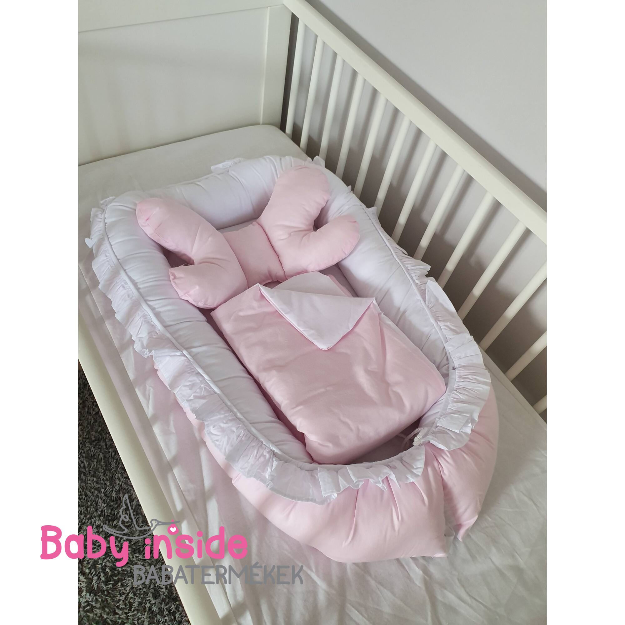 Babafészek LUX újszülött csomag fehér-rózsaszín