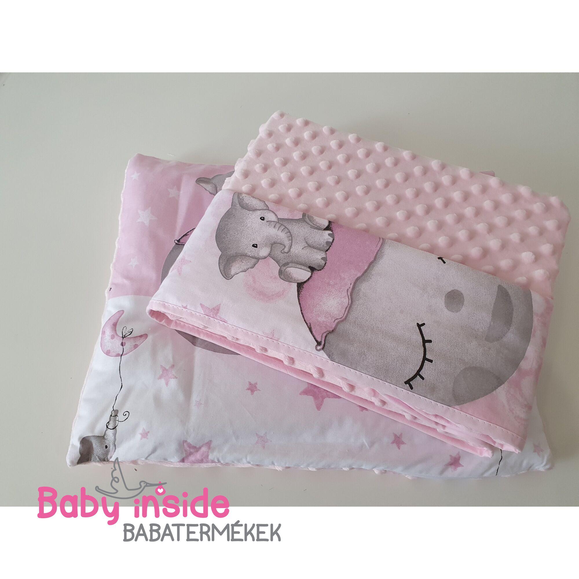 Ágynemű garnitúra 2 részes pamut+minky Pink Ella