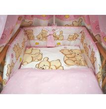 Ágynemű garnitúra 3 részes rózsaszín macikás