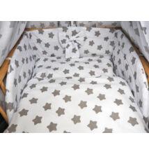 Ágynemű garnitúra 3 részes fehér-szürke csillagos