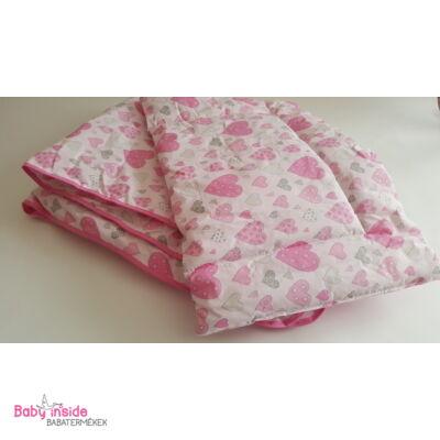 Ágynemű garnitúra 2 részes rózsaszín szívecskés