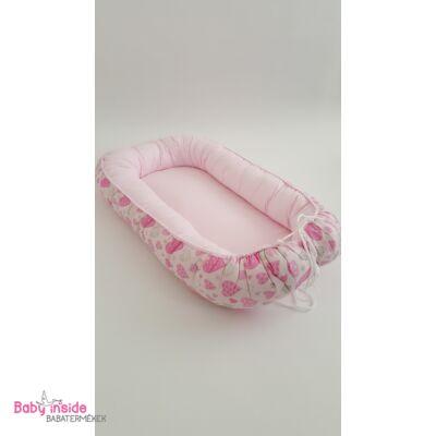 Babafészek rózsaszín szívecskés