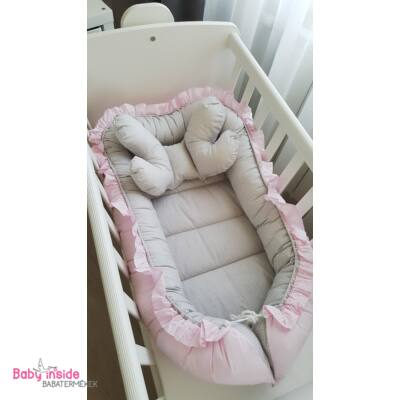 Babafészek LUX újszülött csomag rózsaszín-szürke