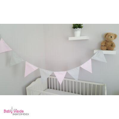 Girland, zászló rózsaszín-szürke