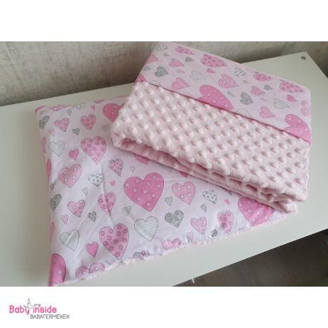 Ágynemű garnitúra 2 részes pamut+minky rózsaszín szívecskés